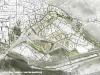 Il piano binari della stazione di Bolzano, realizzato in curva; da notare la tettoia in vetro, elemento di congiungimento tra le nuove pensiline e lo storico fabbricato viaggiatori; in giallo il sedime dell'attuale radice nord-est del fascio binari che verrà trasformata in area edificabile con una pista ciclo-pedonale che proseguirà lungo l'attuale linea verso Brennero . (© Arch. Boris Podrecca / tuttoTreno)