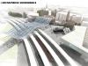 Il piano binari della stazione di Bolzano, realizzato in curva; da notare la tettoia in vetro, elemento di congiungimento tra le nuove pensiline e lo storico fabbricato viaggiatori. (© Arch. Boris Podrecca / tuttoTreno)