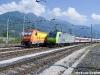 La E 483 018 di Arena Ways, con un treno DB Autozug, e la 485 009 di BLS Cargo in sosta nello scalo di Domo II. (24/06/2010; foto Paolo Di Lorenzo / tuttoTreno)