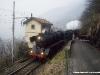 La doppia trazione di Br 50 3673 e 241A 65, impegnate sulla linea Bellinzona–Luino con un treno organizzato da Verbano Express. (Gambarogno, 12/03/2011; foto Walter Bonmartini / tuttoTreno)
