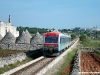 la doppia di automotrici Ad 81 e Ad 88 dele Ferrovie del Sud-Est in transito vicino ai trulli nei pressi di Locorotondo. (12/05/2009; foto Ellis Barazzuol / tuttoTreno)