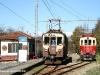 nella stazione di Campi (linea Genova-Casella) il treno merci trainato dalal locomotiva 29 dà la precedenza all'elettromotrice A1. (22/11/2008; foto Ellis Barazzuol / tuttoTreno)