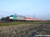 La E 483 019 con l'Espresso Autozug DB 13373 Dusseldorf-Alessandria in transito presso Vespolate, sulla linea da Novara verso la stazione di arrivo. (10/04/2010; foto Alessandro Destasi / tuttoTreno)