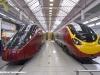 Incontro Alstom con i clienti NTV e Virgin Trains nello stabilimento di Savigliano: le casse di testa dell'ETR 575 Italo di NTV e del classe 390 Pendolino di Virgin Trains. (30/11/2011; foto Marco Bruzzo / tuttoTreno)