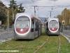 I tram 11 e 12 della GEST di Firenze durante il preesercizio sulla linea 1 delal città toscana. (10/11/2009; foto Stefano Patelli/ tuttoTreno)