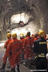 La caduta dell'ultimo diaframma della canna est della galleria di base del Gottardo. (15/10/2010; foto Alp Transit / tuttoTreno)