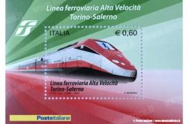 Il francobollo commemorativo per la Linea Ferroviaria ad alta Velocità Torino-Salerno, emesso il 2 ottobre 2010. (Poste Italiane / Duegieditrice)