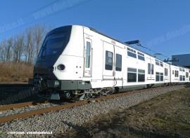 Il primo convoglio a due piani MI09 realizzato dal consorzio Alstom-Bombardier per la linea A della RER. (08/02/2011; © Alstom / tuttoTreno)
