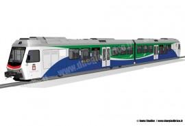 Il rendering del treno a due casse ordinato a Stadler dalle Ferrovie Appulo Lucane per la rete pugliese. (Fonte Stadler / tuttoTreno)
