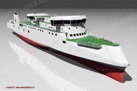 Il rendering della nave traghetto ordinata da RFI per i servizi sullo Stretto di Messina. (© Ferrovie dello Stato / tuttoTreno)