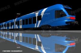 Il convoglio FLIRT realizzato per la Sistemi Territoriali: questo potrebbe essere uno dei treni in lizza per la partecipazione alla gara di Trenitalia. (Stadler / TuttoTreno)
