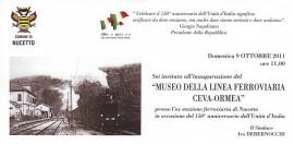 L'invito all'inaugurazione del Museo di Nucetto
