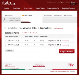 Una delle schermate del sito di Italo con le relazioni Milano–Napoli. (copyright NTV)