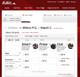 Una delle schermate del sito di Italo con le relazioni Milano–Napoli con l'offerta commerciale. (copyright NTV)